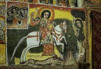 Der Heilige Georg auf einem weissen Pferd spiesst einen Drachen auf und rettet dadurch die Tochter des Königs von Beirut