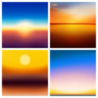Abstract vector nature blurred background set. Square blurred backgrounds set - sky clouds sea ocean green colors