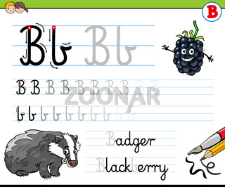 how to write letter B worksheet for kids