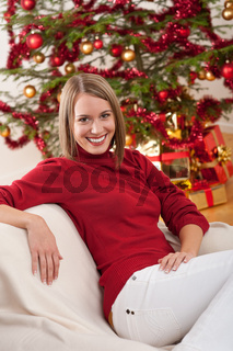 Happy young woman on Christmas