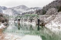 Train in Winter landscape snow