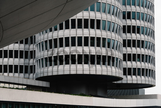 Exterior shot of BMW main offices in Munich
