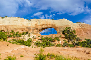Arches National Park in summer with blue sky