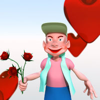 Cartoon character with flowers