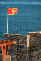 Flag of Montenegro fluttering in a wind
