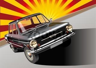 Black retro car