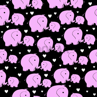 seamless pattern with morher and baby elephant