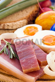Traditional Easter breakfast with gammon, egg and farmhouse bread