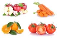 Obst und Gemüse Früchte Sammlung Äpfel, Orangen Karotten Tomaten Essen Freisteller