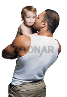 Athletic father with daughter isolated on white background