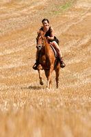 Frau mit Pferd