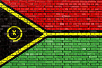 flag of Vanuatu painted on brick wall