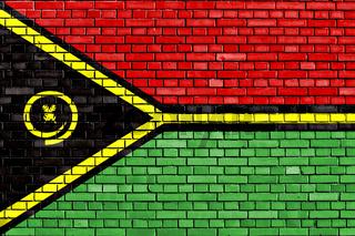 flag of Vanuatu painted on brick wall