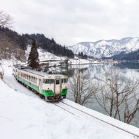 Train in Winter landscape snow