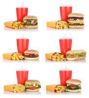 Hamburger Sammlung Collage Cheeseburger Menü mit Pommes Frites Getränk Fast Food Freisteller freigestellt