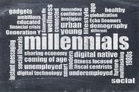 millennials word cloud on blackboard