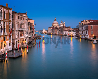 Grand Canal and Santa Maria della Salute Church in the Evening, Venice, Italy