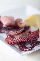 Nahaufnahme der Oktopus-Vorspeise mit einer Zitrone