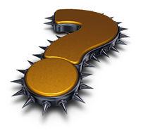fragezeichen mit metallstacheln - 3d rendering
