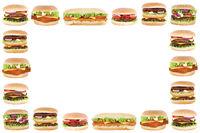Hamburger Cheeseburger Burger Textfreiraum Copyspace Rahmen Tomaten Salat Freisteller freigestellt