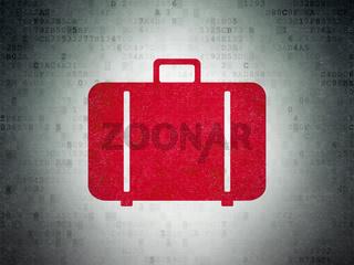 Tourism concept: Bag on Digital Data Paper background