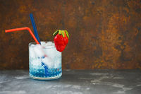 Cocktail Blue lagoon on the dark background