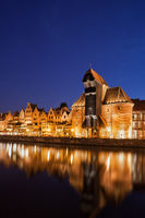Gdansk Old Town illuminated at night in Poland