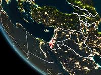 Satellite view of Israel at night