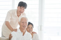 Asian mature son and old parents at home