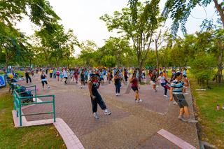Lumpini Park Group Aerobics Exercise Bangkok