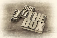 think outside the box word abstract