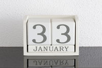 White block calendar present date 33 and month January - Extra day