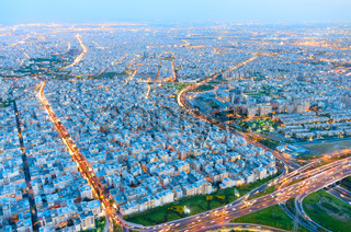 Skyline of Tehran. Aerial view