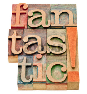 fantastic word abstract in wood  type