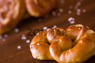 Closeup of salty cooked pretzel