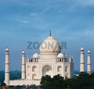 Taj Mahal Far White Marble Blue Sky Telephoto