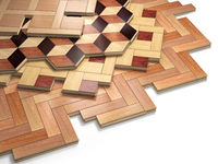 Stack ofr parquet wooden planks. Few types of wooden parquet coating.