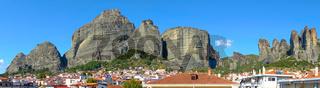 Panoramic view of The Meteora rocks