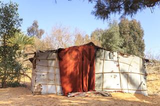 Merzouga, Morocco - February 26, 2016: Hut in the desert of Morocco