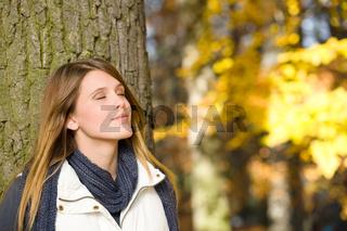 Autumn park - fashion model woman relax