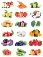 Obst und Gemüse Früchte Sammlung Äpfel, Orangen Tomaten Beeren Trauben Essen Freisteller