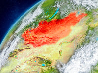 Space view of Mongolia in red
