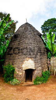 Traditional Dorze tribe house in Chencha Ethiopia
