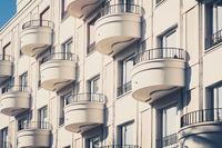 round balcony on modern apartment building facade