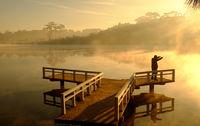 Da Lat sunrise, silhouette of man do exercise