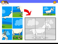 jigsaw puzzles with goat animal character