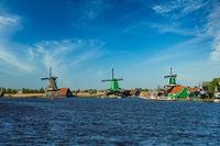 Windmills at Zaanse Schans in Holland. Zaandam, Netherlands