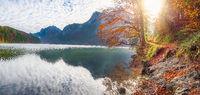 Path on Alpsee lake shore in autumn decor