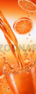 Puor of orange juice falling into a glass with splash.