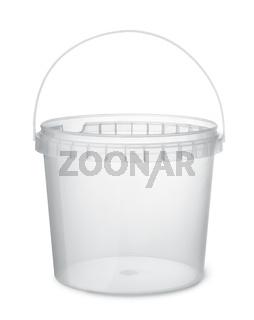Clear plastic food bucket